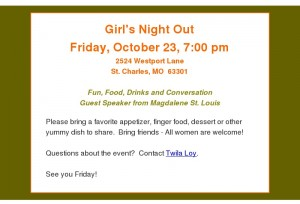 GNO - Magdelene House - Oct 23 reminder